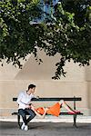 Couple on a bench in a garden, Terrasse De l'Orangerie, Jardin des Tuileries, Paris, Ile-de-France, France Stock Photo - Premium Royalty-Free, Artist: ableimages, Code: 6108-05872954