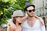 Couple with arms around each other, Paris, Ile-de-France, France Stock Photo - Premium Royalty-Free, Artist: ableimages, Code: 6108-05872968