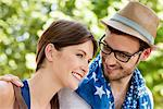 Close-up of a couple smiling, Paris, Ile-de-France, France Stock Photo - Premium Royalty-Free, Artist: Ikon Images, Code: 6108-05873053