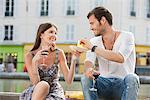Couple drinking red wine, Paris, Ile-de-France, France Stock Photo - Premium Royalty-Free, Artist: Ikon Images, Code: 6108-05873082
