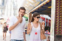 eating ice cream - Couple eating ice creams, Paris, Ile-de-France, France Stock Photo - Premium Royalty-Freenull, Code: 6108-05873126