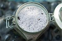 Close-up of a container of bath salt Stock Photo - Premium Royalty-Freenull, Code: 6108-05874108