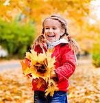 Autumn portrait of cute little caucasian girl Stock Photo - Royalty-Free, Artist: tan4ikk                       , Code: 400-05876159