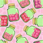 seamless pattern of strawberry jam in pink Stock Photo - Royalty-Free, Artist: Nadzeya                       , Code: 400-05876920
