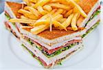 Sandwich with bacon - chicken, cheese and lettuce Stock Photo - Royalty-Free, Artist: ilolab                        , Code: 400-05876988