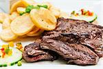 juicy steak beef meat with tomato and french fries Stock Photo - Royalty-Free, Artist: ilolab                        , Code: 400-05877016