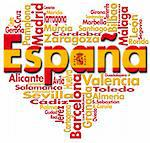 Written España and Spanish cities with heart-shaped, spanish flag colors Stock Photo - Royalty-Free, Artist: catalby                       , Code: 400-05878766