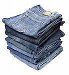 Jeans trousers stack on white background Stock Photo - Royalty-Free, Artist: donatas1205                   , Code: 400-05878900
