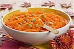 Pumpkin soup with seeds in ceramic bowl shallow DOF Stock Photo - Royalty-Free, Artist: IngridsI                      , Code: 400-05879389