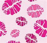 Seamless lipstick kiss shape print pattern in different pink tones