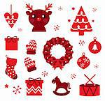Red retro xmas items and elements ( red ) Stock Photo - Royalty-Free, Artist: lordalea                      , Code: 400-05879769
