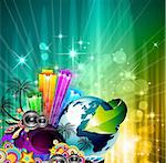 Poster Background for music international disco event with rainbow colours, abstract design elements and a lot of stars! Stock Photo - Royalty-Free, Artist: DavidArts                     , Code: 400-05879783