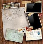 Vintage scrapbook composition with old style distressed postage design elements and antique photo frames plus some post stickers. Background is wood. Stock Photo - Royalty-Free, Artist: DavidArts                     , Code: 400-05879790