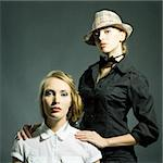 Fashion static portrait of two beautiful women looking in camera Stock Photo - Royalty-Free, Artist: stolbik84                     , Code: 400-05880099