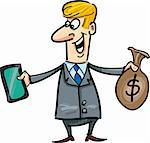 cartoon humorous illustration of businessman with tablet and sack of dollars Stock Photo - Royalty-Free, Artist: izakowski                     , Code: 400-05880203