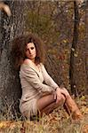 beautiful young woman sitting near a tree Stock Photo - Royalty-Free, Artist: artfotoss                     , Code: 400-05880303