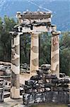 Temple of Athena pronoia at Delphi oracle archaeological site in Greece Stock Photo - Royalty-Free, Artist: karapas                       , Code: 400-05880380