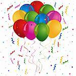 Balloons for birthday or party card Stock Photo - Royalty-Free, Artist: soleilc                       , Code: 400-05880422