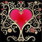 Gold valentines vintage frame with heart on black  background (vector) Stock Photo - Royalty-Free, Artist: OlgaDrozd                     , Code: 400-05880443