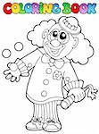 Coloring book with happy clown 8 - vector illustration.