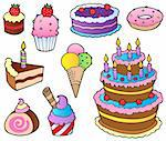 Various cakes collection 1 - vector illustration. Stock Photo - Royalty-Free, Artist: clairev                       , Code: 400-05880780