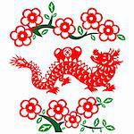 Traditional paper cut of a dragon.(fifth of Chinese Zodiac). Stock Photo - Royalty-Free, Artist: mylefthand                    , Code: 400-05881369