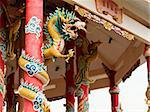 Left Golden dragon statue on red pillar in Chinese Temple style Stock Photo - Royalty-Free, Artist: nuttakit                      , Code: 400-05881703