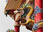 Right Golden dragon statue on red pillar in Chinese Temple style Stock Photo - Royalty-Free, Artist: nuttakit                      , Code: 400-05881704