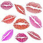 Illustration of sexy lipstick kiss on a white background. Stock Photo - Royalty-Free, Artist: Duda78                        , Code: 400-05883531