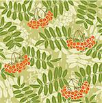 Vector background of red rowan seamless pattern Stock Photo - Royalty-Free, Artist: 100ker                        , Code: 400-05883931