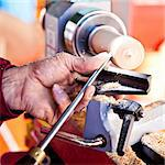 Old worker hands at lathe Stock Photo - Royalty-Free, Artist: Perseomedusa                  , Code: 400-05884060