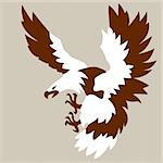 eagle drawing on brown background, vector illustration
