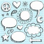 Sketchy Doodle 3-D Shaped Comic Book Style Speech Bubbles and Peace Sign- Hand Drawn Notebook Doodles on Blue Lined Paper Background- Vector Illustration.  Vector is an AI file.