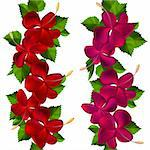 Samless border made of hibiscus flowers  on white Stock Photo - Royalty-Free, Artist: nurrka                        , Code: 400-05884574