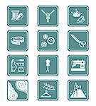 Fashion industry tools and objects teal contour icon-set Stock Photo - Royalty-Free, Artist: sahua                         , Code: 400-05884775