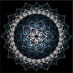 Abstract sacred lotus mandala over bluish black Stock Photo - Royalty-Free, Artist: sahua                         , Code: 400-05884782