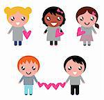 Multicultural kids holding valentines hearts. Vector cartoon   Stock Photo - Royalty-Free, Artist: lordalea                      , Code: 400-05885233