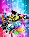 Poster Background for music international disco event with rainbow colours, abstract design elements and a lot of stars! Stock Photo - Royalty-Free, Artist: DavidArts                     , Code: 400-05885428