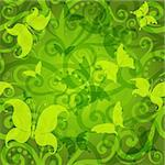 Seamless green floral pattern with butterflies  (vector EPS 10) Stock Photo - Royalty-Free, Artist: OlgaDrozd                     , Code: 400-05885553