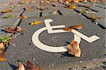 disabled parking permit sign painted on the street Stock Photo - Royalty-Free, Artist: hansenn                       , Code: 400-05885607