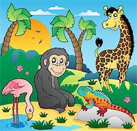 smiling chimpanzee - African scenery with animals 5 - vector illustration. Stock Photo - Royalty-Freenull, Code: 400-05885684