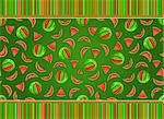 Juicy Watermelon Seamless Pattern on Dark Green Background With Striped Decoration Stock Photo - Royalty-Free, Artist: nikifiva                      , Code: 400-05886533