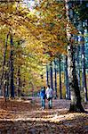 A woman and her child for a walk in an autumnal forest. Stock Photo - Royalty-Free, Artist: toberl77                      , Code: 400-05887479