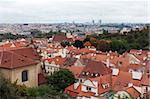 View of Prague from the top, the red roofs