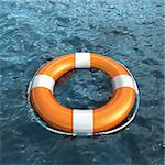Realistic lifebuoy on waves water (3d render)