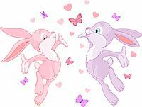 Valentine bunnies in Love, are In The Air Stock Photo - Royalty-Freenull, Code: 400-05888985