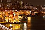container terminal at night in city Stock Photo - Royalty-Free, Artist: cozyta                        , Code: 400-05889595