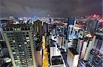 Hong Kong downtown city at night Stock Photo - Royalty-Free, Artist: leungchopan                   , Code: 400-05889635