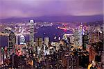 Hong Kong skyline at night Stock Photo - Royalty-Free, Artist: leungchopan                   , Code: 400-05889675