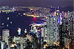 Hong Kong skyline at night Stock Photo - Royalty-Free, Artist: leungchopan                   , Code: 400-05889676